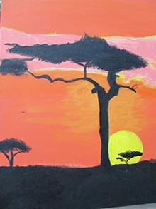 african-sunset-art